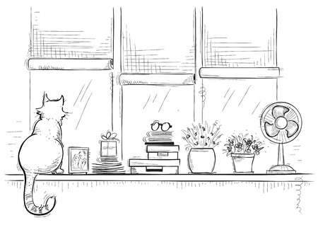 Windows ill with home love objects and cute cat.Hand drawn sketch of black illustration. Ilustração