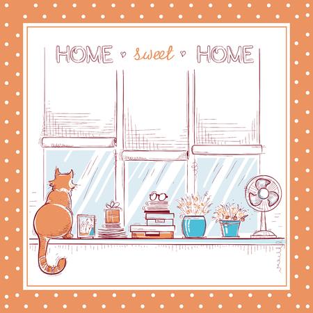 Casa dolce card.Windowsill casa con oggetti d'amore a casa e simpatico gatto.