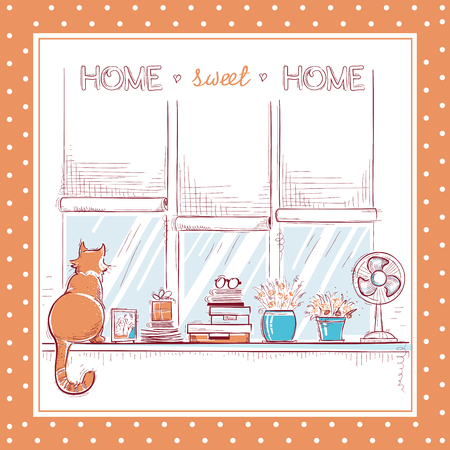 Home sweet home card.Windowsill with home love objects and cute cat. Illustration