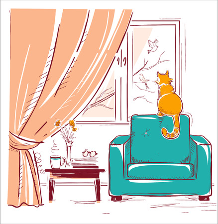Red cat watching birds near the window.Interior room with modern armchair.