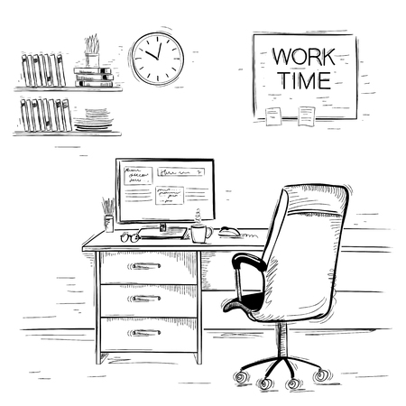 Office interior room.Sketchy illustration of work place on white