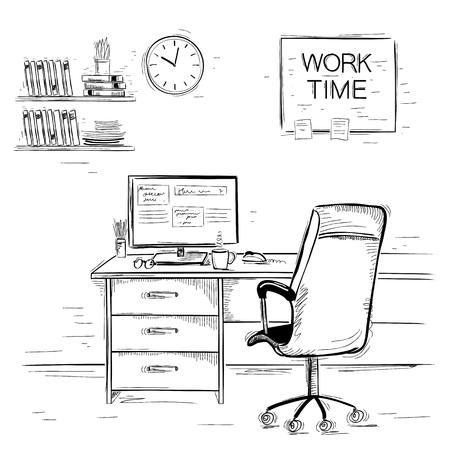 Oficina de la ilustración room.Sketchy inter del lugar de trabajo en blanco Ilustración de vector