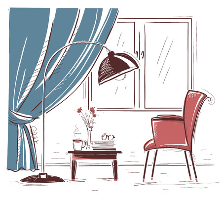 drawing room: Interior sketchy illustration of living room with armchair. hand drawing modern home Illustration