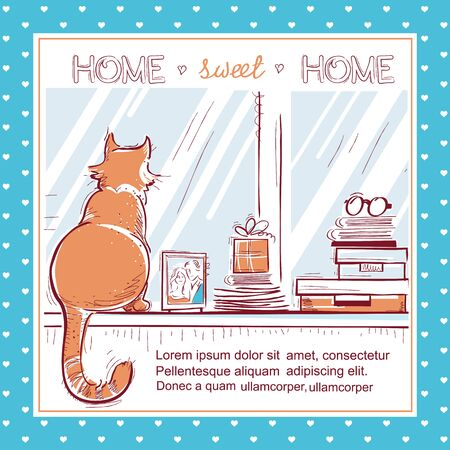 windowsill: Home sweet home hand drawn card.Windowsill with home love objects and cute cat on windowsill