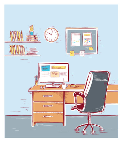 Office interior room.Sketchy color illustration of work place