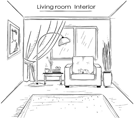 Interior sketchy illustration of living room. hand drawing modern home isolated on white Ilustrace