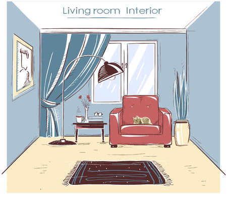 Interior sketchy color illustration of living room. hand drawing modern home isolated on white