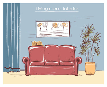 Color sketchy interior illustration of living room. hand drawing modern home with cat