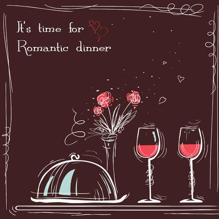 Love card romantic dinner. sketch illustration with text Stock Illustratie