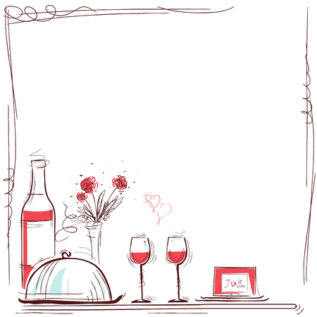 Romantic dinner card illustration with wine and food for lovers. background for text