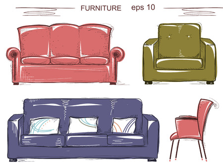 Set of couch and armchairs. color sketchy furnitures isolated