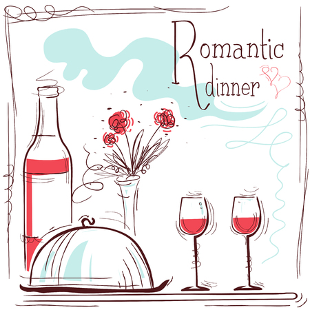 dinner date: Romantic dinner card.illustration with wine and food and text Illustration