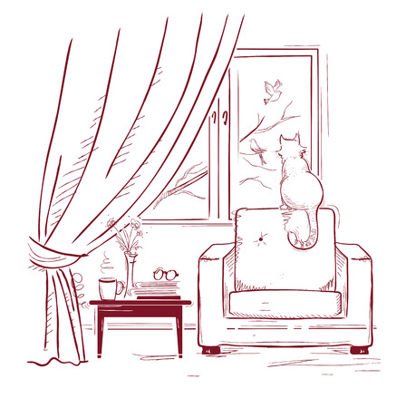 armchair: Cat watching birds near the window.Interior room with modern armchair. sketchy illustration Illustration