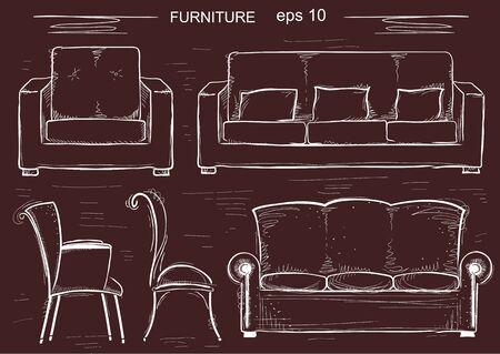 Ensemble de canapé et fauteuils. meubles sommaires isolés Vecteurs