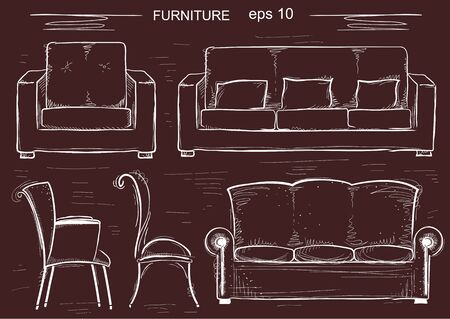 design interior: Set of couch and armchairs. sketchy furnitures isolated