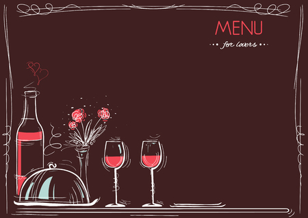Menu card for lovers. restaurant Love card of romantic dinner with text