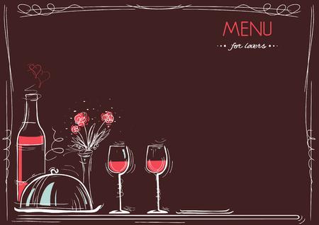 Ejemplo De La Tarjeta Romántica Cena Con Vino Y Comida Para