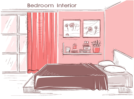 sketchy illustration: Bedroom interior. color sketchy illustration of modern room Illustration