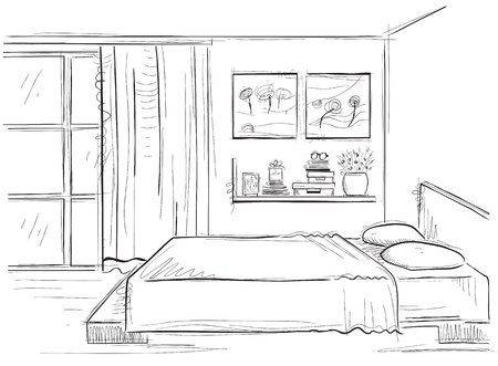 sketchy illustration: Bedroom interior. sketchy illustration of modern room isolated on white Illustration