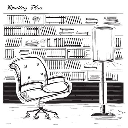 arm chair: Interior reading room with arm chair and books. black sketchy illustration isolated on white Illustration