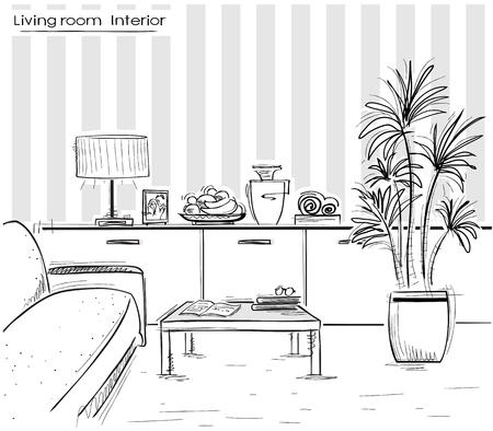 modern living room: interior of living room. black sketchy illustration of modern furniture