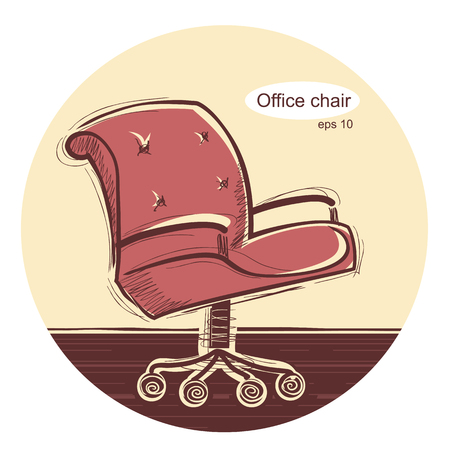 Office chair.sketchy hand draw illustration isolated on white Illustration