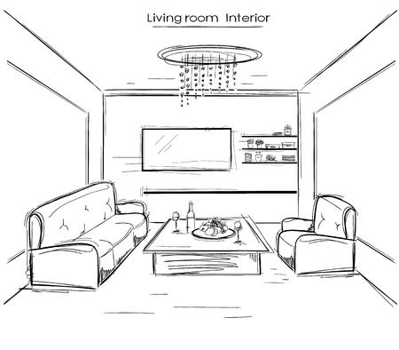 modern living room: living room interior.black hand drawing modern home isolated on white