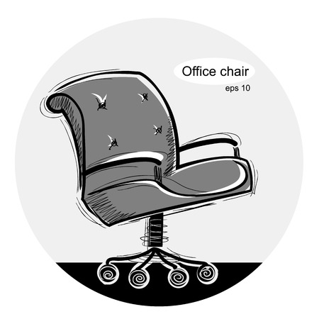 Office chair.black hand draw illustration isolated on white