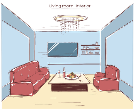 drawing room: living room interior.color hand drawing illustration of modern home Illustration