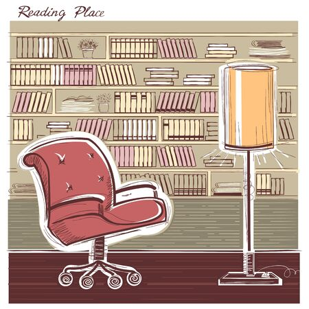 study table: Interior reading room with arm chair and home book library.color hand draw sketchy illustration Illustration