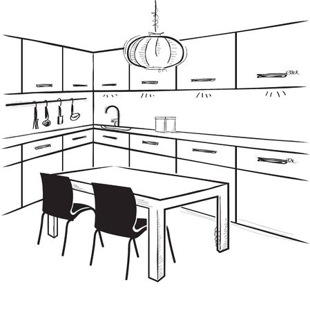 sketchy illustration: Modern kitchen room. sketchy illustration on isolated white Illustration