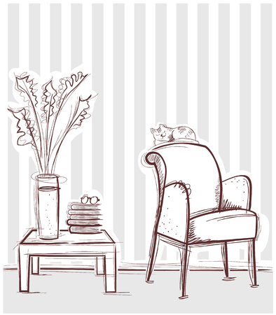 Reading room interior with table and books. hand drawing illustration on white