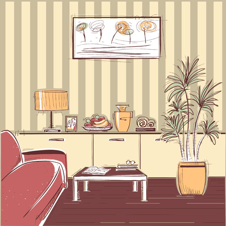 hotel rooms: modern interior of living room with couch. sketchy illustration of modern furniture