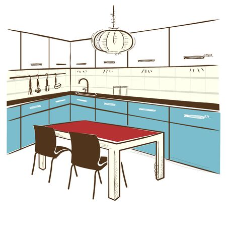 domestic room: Modern kitchen room. color sketchy illustration on isolated white Illustration