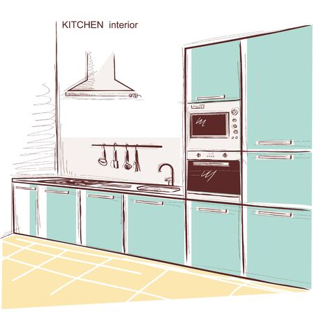 kitchen room interior. sketchy illustration background with text Illustration