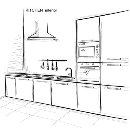 domestic room: kitchen room interior. sketchy illustration isolated on white Illustration
