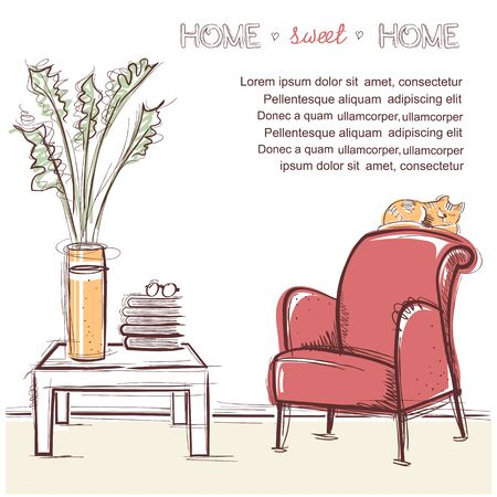 Sweet home card with table and books for reading. hand drawing illustration on white Illustration