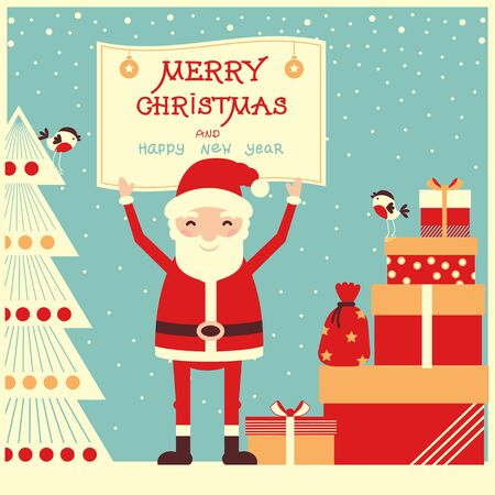 Merry christmas and new year card with Santa Claus and holiday presents Illustration