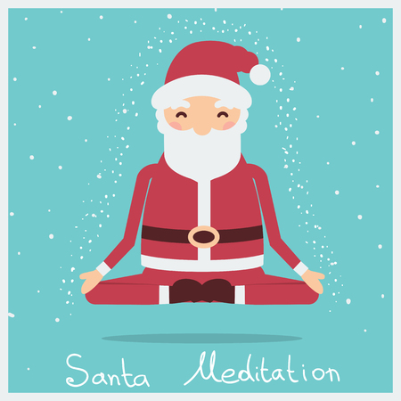 Santa christmas meditation.Vector holiday illustration with text