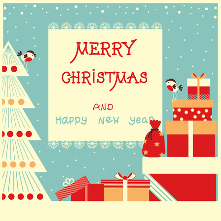 Merry christmas background with text and holiday presents.Vector illustration Illustration