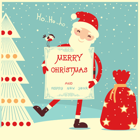 Merry christmas card with Santa Claus and paper holiday text