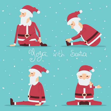 Santa Claus doing yoga.Vector holiday set of illustration isolated for design