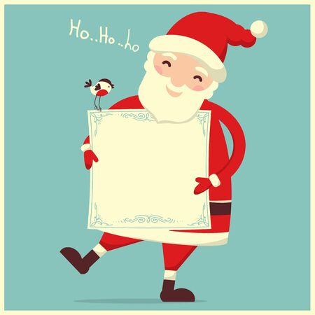 Santa Claus with paper for holiday text. Vector merry christmas symbol isolated Illustration