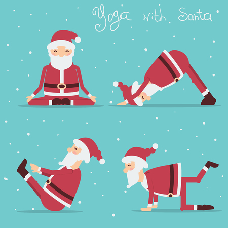 Santa Claus doing yoga.Vector holiday illustration isolated Illustration