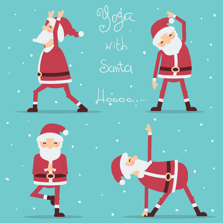 Santa Claus doing yoga.Vector illustration