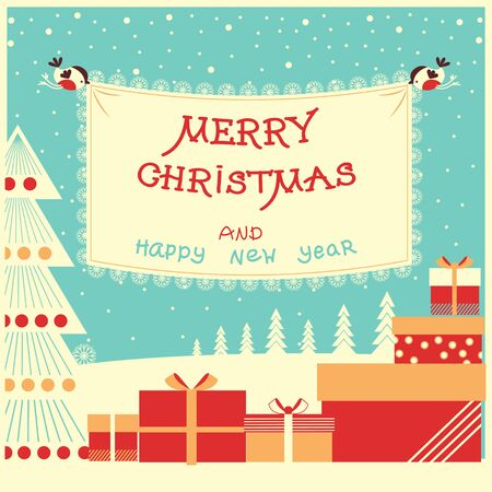 Merry christmas and new year card with holiday presents on winter landscape.Vector illustration