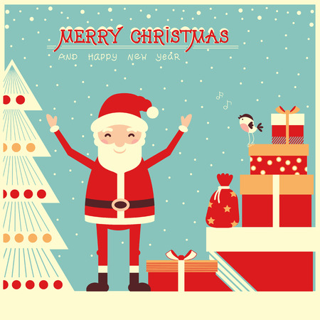 Merry christmas card with Santa Claus and holiday presents.Vector illustration
