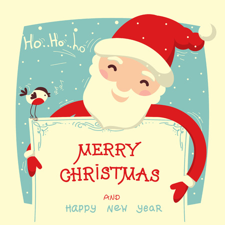 Santa Claus holds christmas card with text. Merry christmas symbol background