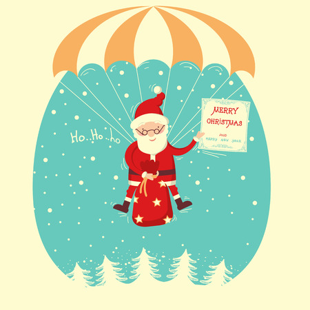 Santa Claus flyiing on parachute in snow blue sky.Merry christmas comic card Illustration