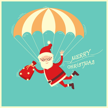 Santa Claus with parachute on blue background.Merry christmas illustration